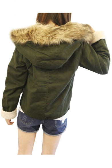 Fur Collar Up Sleeve Coat Long Zip Collection with Hooded Winter 8wBxq47AnH