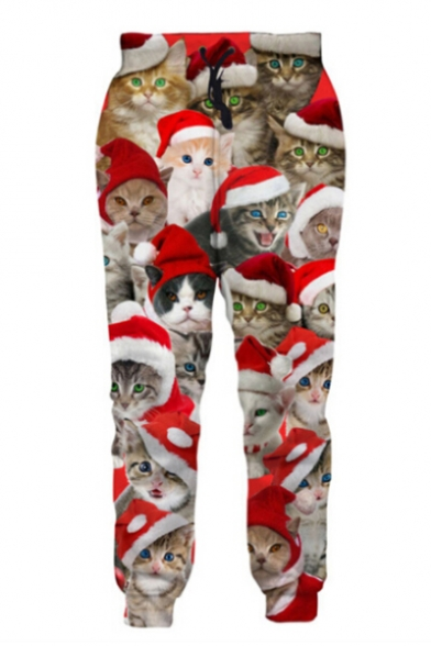 Image of Adorable Cat with Christmas Hat Print Drawstring Waist Loose Pants