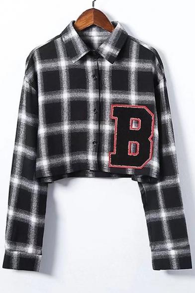 B Letter Applique Lapel Collar Plaid Printed Long Sleeve Crop Shirt