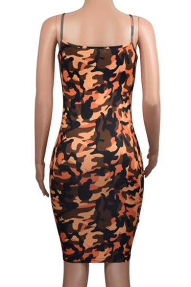 Camouflaged Pattern Spaghetti Straps Mini Cami Bodycon Dress