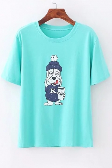 Dog Sleeve Tee Cartoon Neck Short Round Printed gvdqO