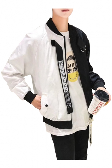 Color Block Letter Printed Back Stand Up Collar Long Sleeve Zip Up Jacket