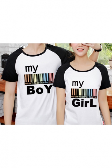 Tee Couple Short Sleeve Raglan Round Printed for Letter Block Code Bar Color Neck xTvE5wF7qW