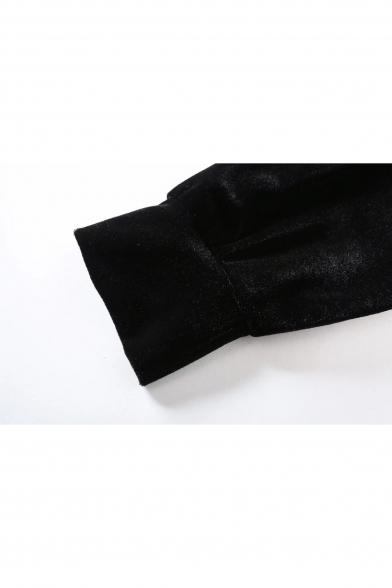 Fashionable Velvet Sweatshirt Neck Embroidered Long Cropped Crane Sleeve Round rWf0wrUqZ