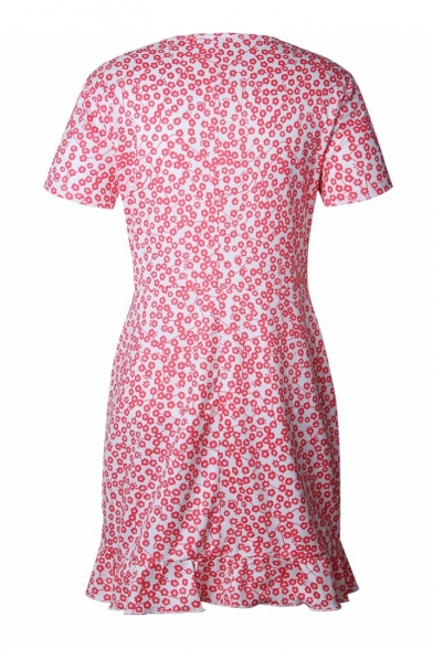 Floral Printed V Neck Short Sleeve Ruffle Hem Mini A-Line Dress