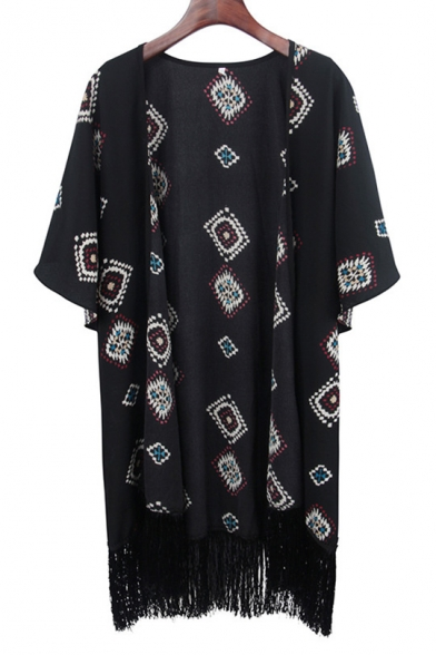 Folk Style Printed Collarless Short Sleeve Kimono with Tassel