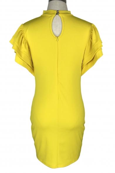 High Neck Ruffle Short Sleeve Plain Keyhole Back Midi Pencil Dress