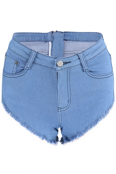 Hot Sale Zipper Back Plain Hot Pants Fringe Hem Denim Shorts