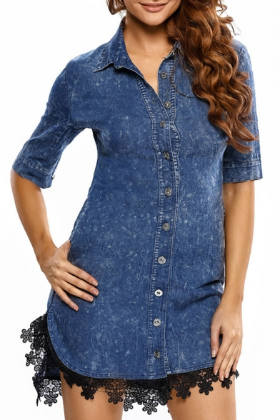 Hot Stylish Button Front Lapel Half Sleeve Lace Panel Dipped Hem Shirt Dress