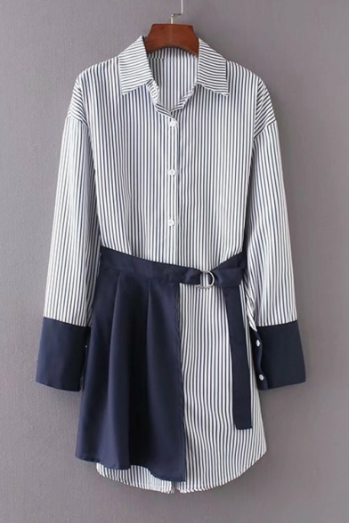d010fd99fc7 Lapel Collar Long Sleeve Striped Buttons Down Tunic Shirt with Tied Waist  Mini Skirt Co- ...