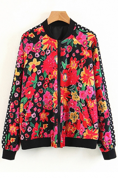 New Trendy Floral Printed Stand Up Collar Zip Up Long Sleeve Coat