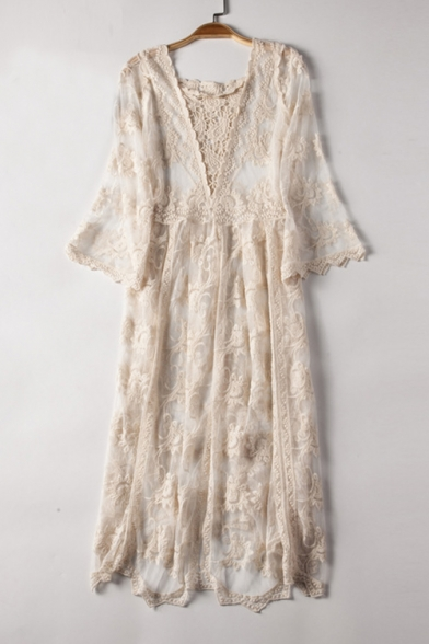 Sexy Sheer Lace V Neck Long Sleeve Maxi A-Line Dress