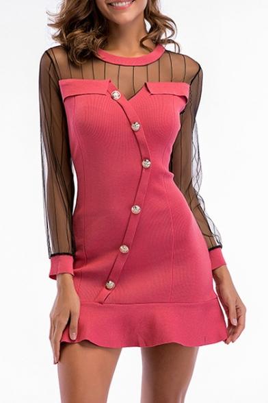 Sheer Mesh Insert Round Neck Long Sleeve Buttons Down Ruffle Hem Mini A-Line Dress