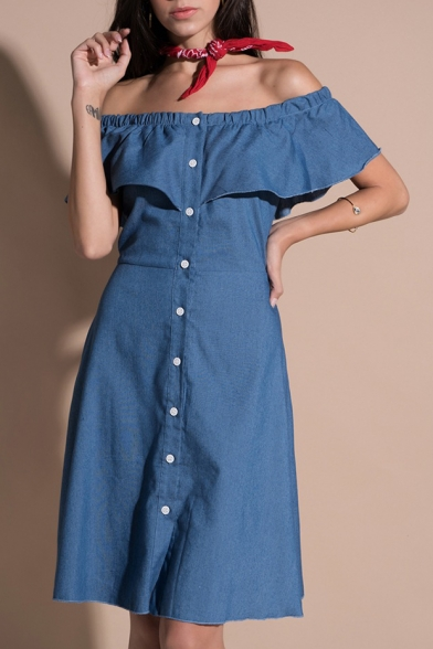 Summer Fashion Off the Shoulder Button Front Ruffle Detail Mini A-line Dress
