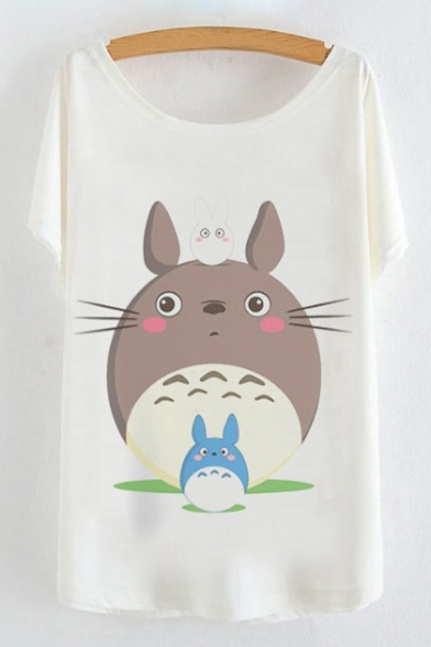 Adorable Cartoon Family Printed Round Neck Short Sleeve Tee