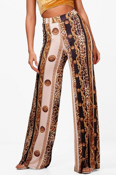 93454179cf Color Block Leopard Printed High Waist Loose Wide Leg Pants -  Beautifulhalo.com