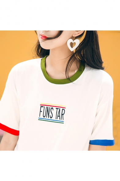 Sleeve Letter Contrast Round Neck Tee Embroidered Short Trim BYqrBfz