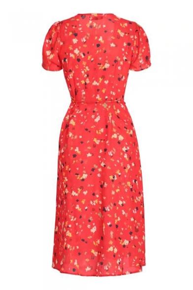 Floral Printed V Neck Short Sleeve Midi Wrap Dress