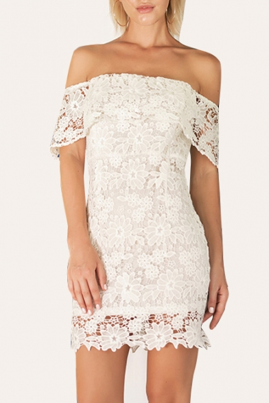 Ladylike Floral Lace Panel Off the Shoulder Zip Back Mini Pencil Slim Dress
