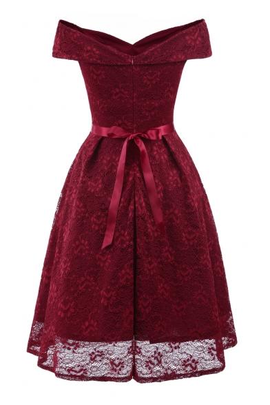Off The Shoulder Short Sleeve Bow Embellished Midi A-Line Lace Dress