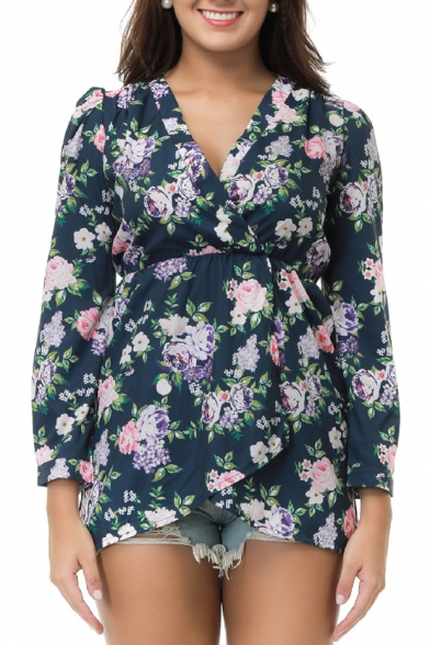 Print Long High Blouse Sleeve Front Wrap Floral Waist Popular Fashionable 5awAUU