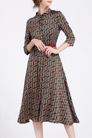 Retro Geometric Printed Collared 3/4 Length Sleeve Midi A-Line Dress