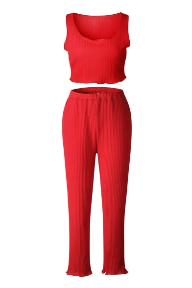 Ribbed Plain Cropped Round Neck Sleeveless Tank with Leisure Pants Co-ords