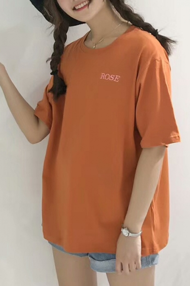 Simple T Summer Round shirt Floral Embroidered ROSE Sleeves Half Letter Neck Basic vXxrzv