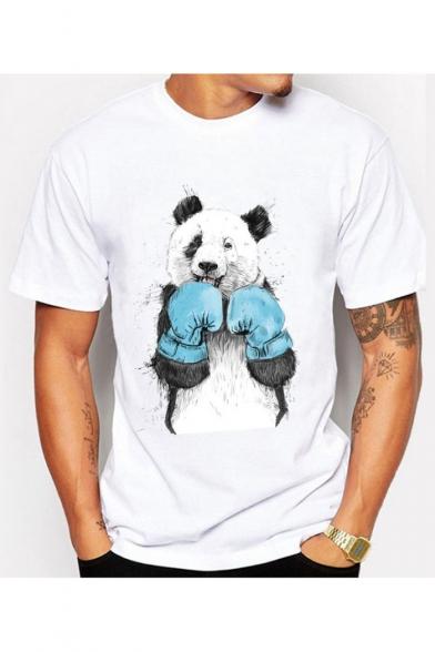 Panda Stylish shirt Boxer Neck Summer Short Print Sleeves Round T 5r57Aw