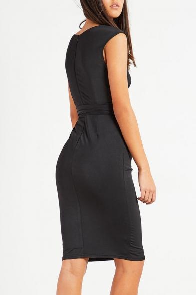 Stylish Hollow Out Detail Plunge Neck Bow Tie Waist Midi Bodycon Dress