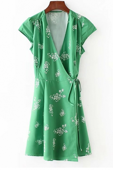 Summer Collection Bow Tie Belted Cap Sleeve Floral Print Mini Wrap Fashion Dress