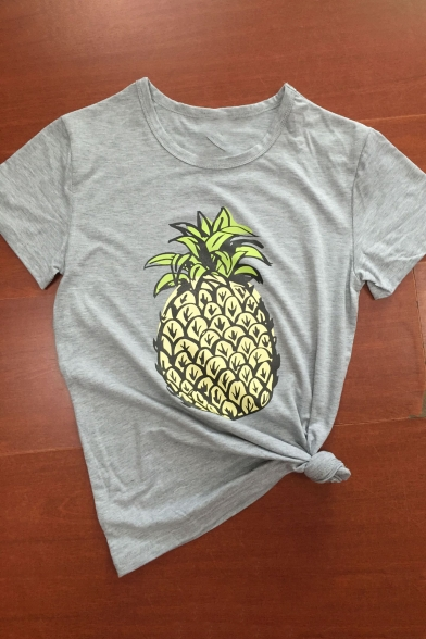Pineapple Printed Neck Short New Leisure Summer's Round Arrival Tee Sleeve Eq6axAw