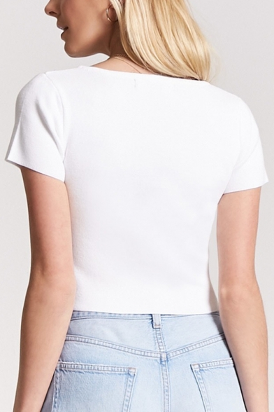 Ribbed Square Crop Short Crop Sleeve Tee Neck Plain Unique XUwqxU