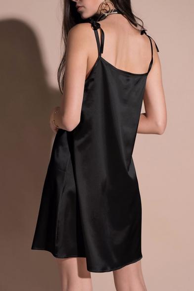 Collection Dress Cami Bow Tie Mini Plain Women's Summer Spaghetti Straps aSqZa4xw