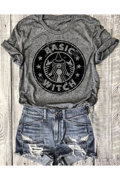 BASIC WITCH Character Printed Round Neck Short Sleeve Loose Tee