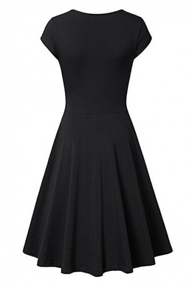 Casual Style Plain V Neck Cap Sleeve Wrap Front Slim Fit Mini T-shirt A-line Dress