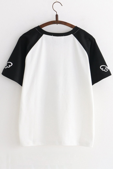 Block Short Letter Color Cow Printed Tee Raglan Short Sleeve Neck Sleeve Round 1pqSFUgw