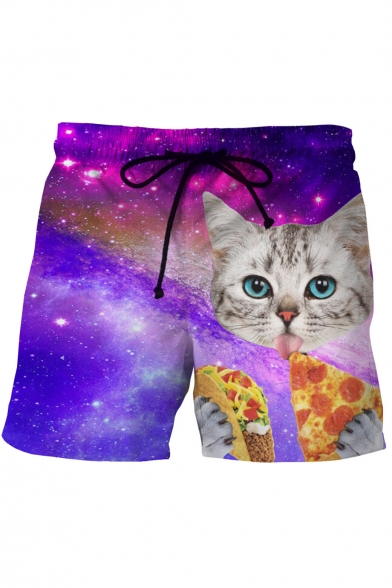 Digital Galaxy Cat Pizza Printed Drawstring Waist Loose Shorts
