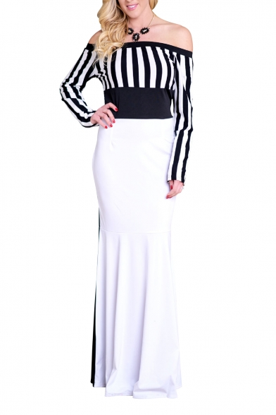 Elegant Off the Shoulder Striped Pattern Color Block Maxi Pencil Dress