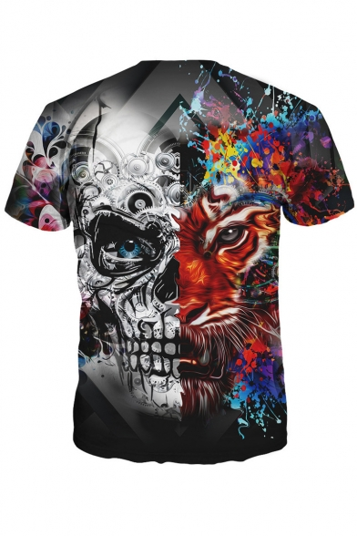 Floral Tiger Neck Skull Round Casual Fashionable Tee Short Print Sleeves PR5qwfnfZ