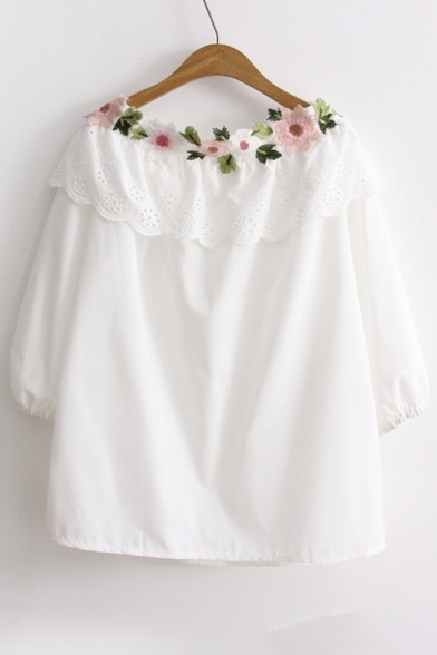 Hollow Out Embellished Floral Shoulder The Blouse Off Half Sleeve UzqwHOTq