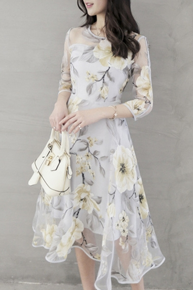 Floral Printed Round Neck 3/4 Length Sleeve Midi A-Line Organza Dress