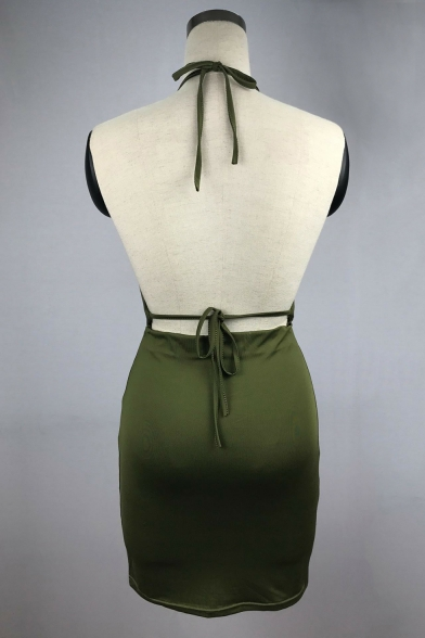 Halter Neck Low Cut Tie Back Ruched Detail Mini Cami Bodycon Dress