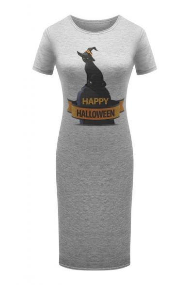 HAPPY HALLOWEEN Cat Printed Round Neck Short Sleeve Slim T-Shirt Dress