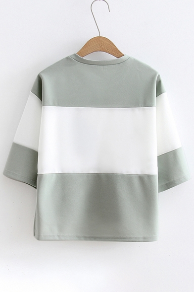 Short Color New Sleeve Arrival with Round Neck Pocket Block Tee C55Xwqr