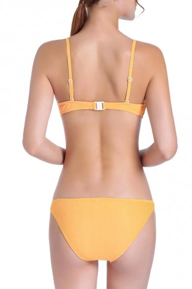 Sexy Simple Plain Knotted Hollow Out Spaghetti Straps Sleeveless Bikini