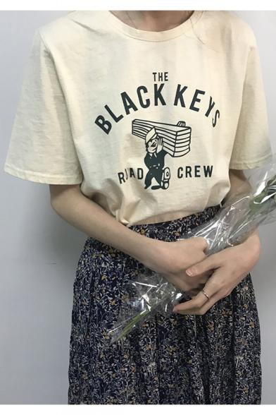 THE BLACK KEYS ROAD CREW Letter Cartoon Figure Print Short Sleeve Tee