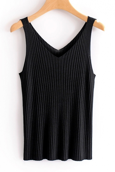 Ribbed Sleeveless Tank Plain Neck Slim V OHPwqq