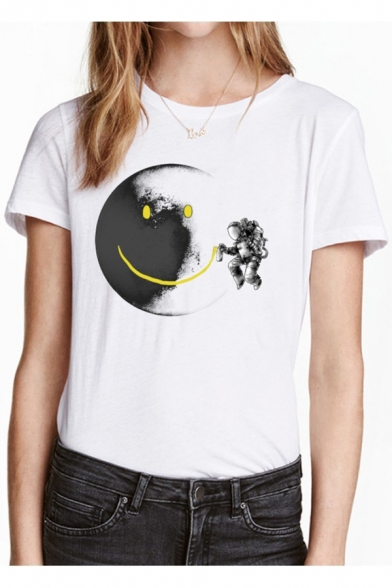 Neck Round Tee Short Moon Sleeve Print Cartoon Astronaut wIt6q