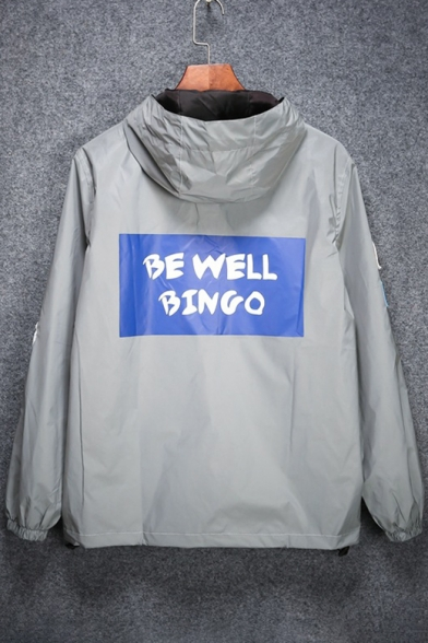 Chic BE WELL BINGO Letter Printed Back Zip Up Reflective Hooded Coat